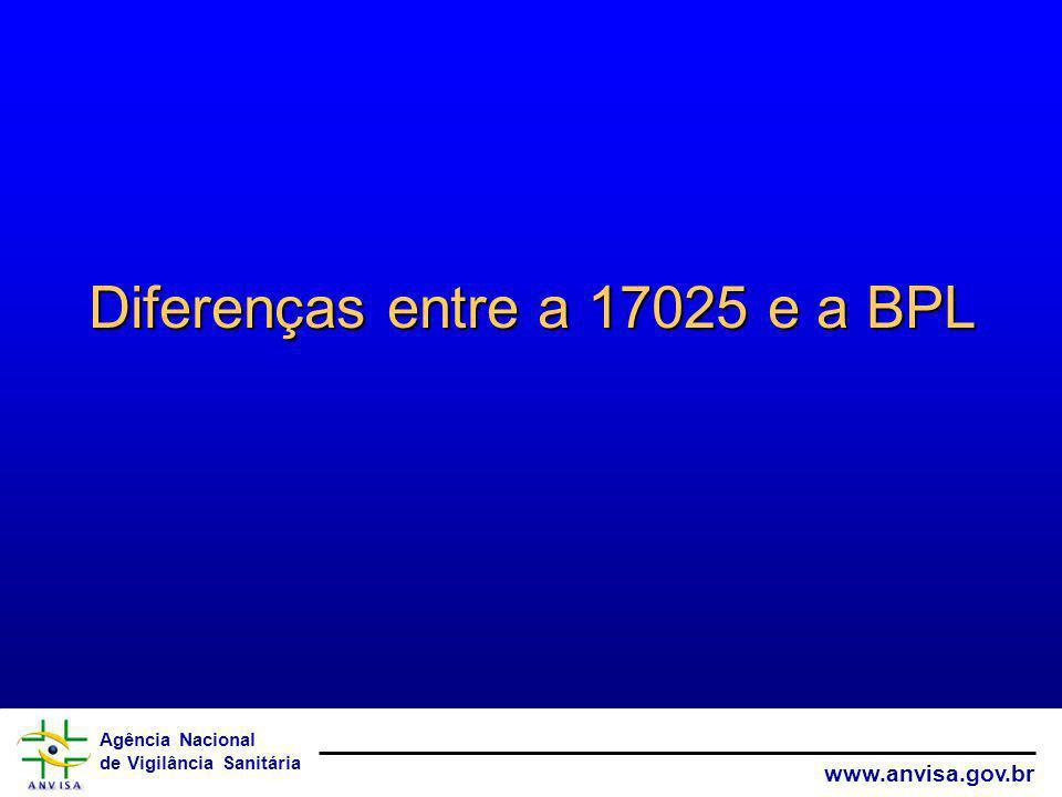 Diferenças entre a 17025 e a BPL