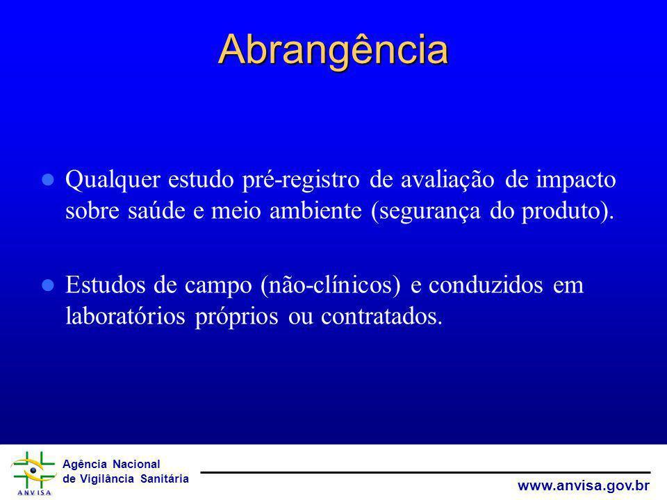 Abrangência Qualquer estudo pré-registro de avaliação de impacto sobre saúde e meio ambiente (segurança do produto).