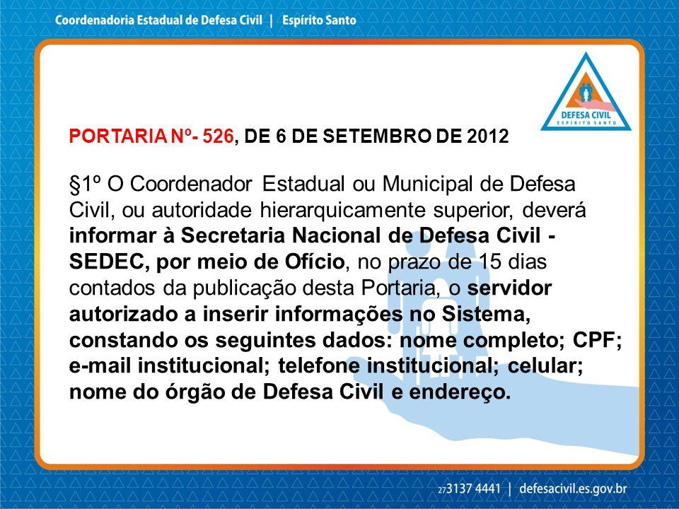 PORTARIA Nº- 526, DE 6 DE SETEMBRO DE 2012