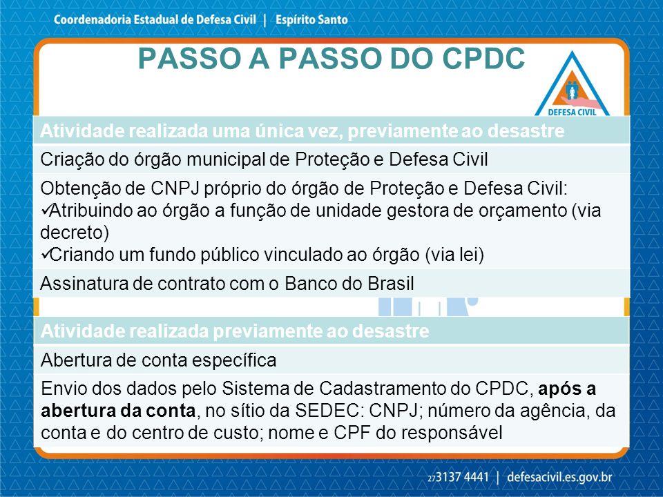 Passo a passo do CPDC Atividade realizada uma única vez, previamente ao desastre. Criação do órgão municipal de Proteção e Defesa Civil.
