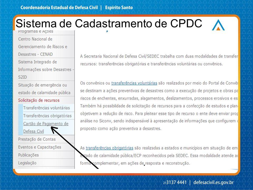 Sistema de Cadastramento de CPDC