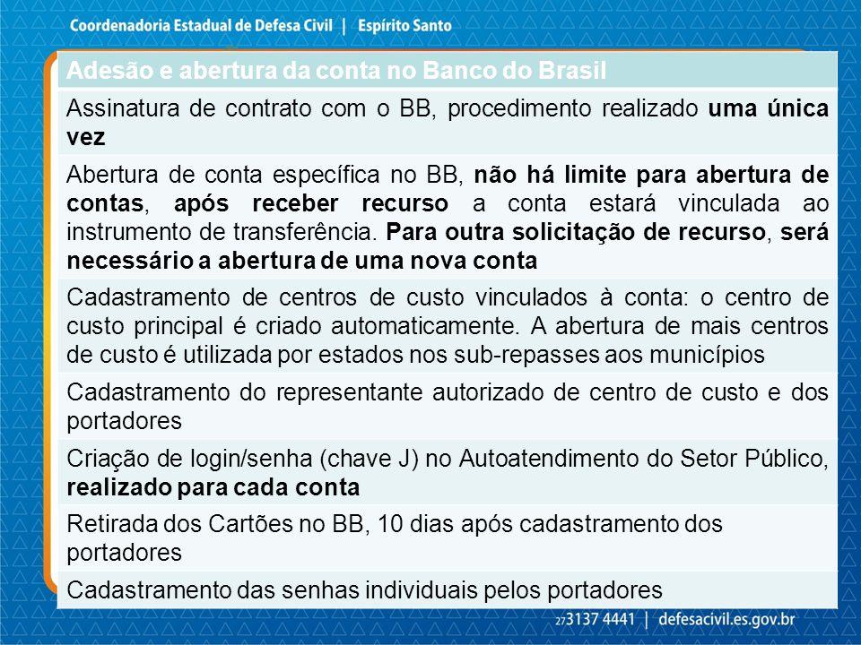 ADESÃO E ABERTURA DA CONTA