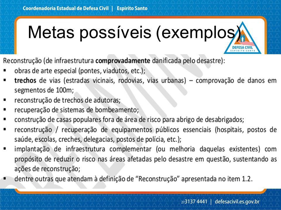 Metas possíveis (exemplos)