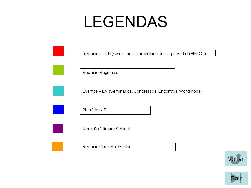 LEGENDAS Reuniões – RN (Avaliação Orçamentária dos Órgãos da RBMLQ-I) Reunião Regionais.