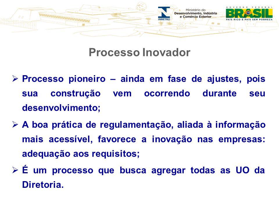 Processo Inovador Processo pioneiro – ainda em fase de ajustes, pois sua construção vem ocorrendo durante seu desenvolvimento;
