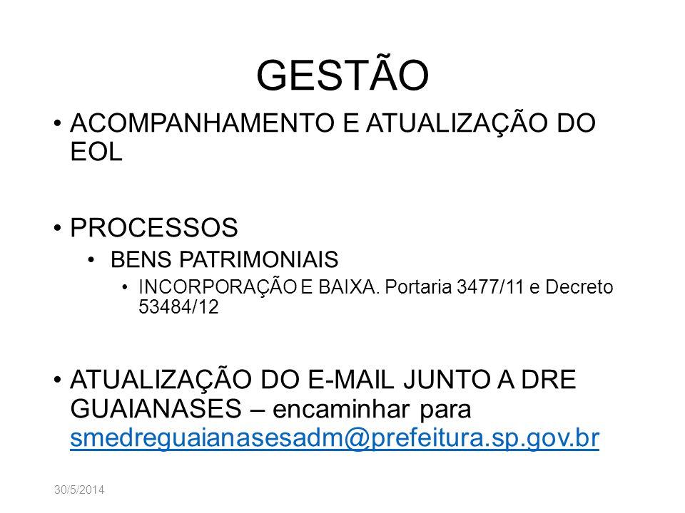 GESTÃO ACOMPANHAMENTO E ATUALIZAÇÃO DO EOL PROCESSOS