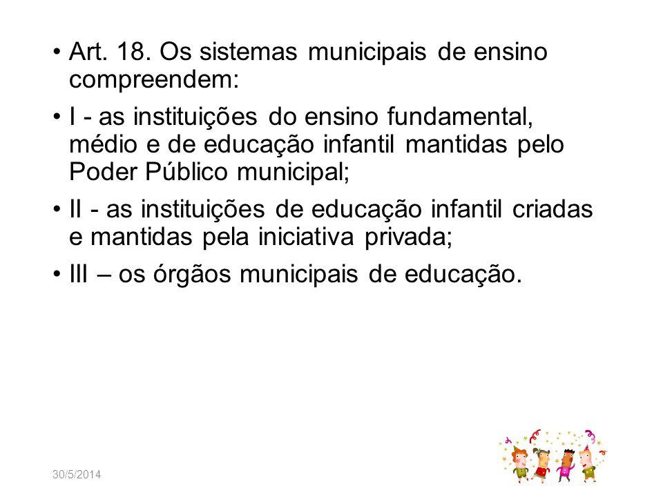 Art. 18. Os sistemas municipais de ensino compreendem: