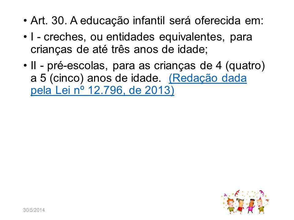 Art. 30. A educação infantil será oferecida em: