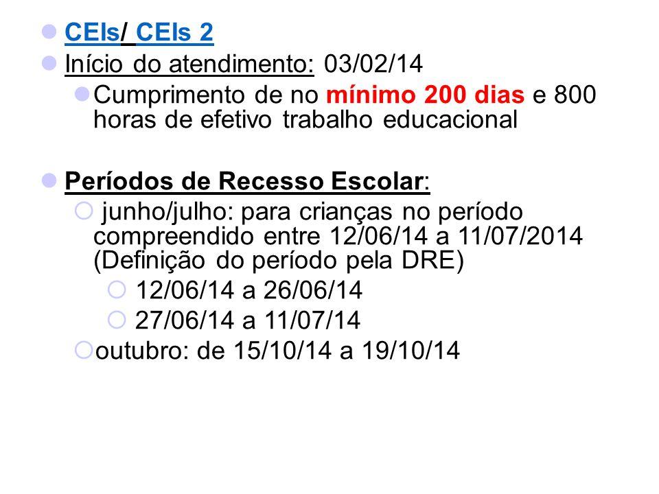 CEIs/ CEIs 2 Início do atendimento: 03/02/14. Cumprimento de no mínimo 200 dias e 800 horas de efetivo trabalho educacional.