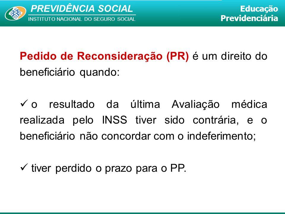 Pedido de Reconsideração (PR) é um direito do beneficiário quando: