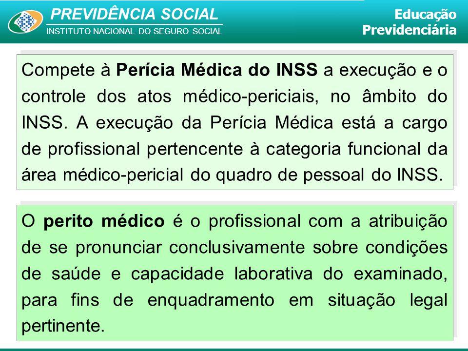 Compete à Perícia Médica do INSS a execução e o controle dos atos médico-periciais, no âmbito do INSS. A execução da Perícia Médica está a cargo de profissional pertencente à categoria funcional da área médico-pericial do quadro de pessoal do INSS.
