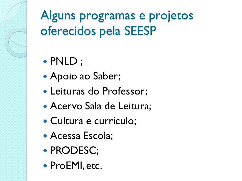 Alguns programas e projetos oferecidos pela SEESP