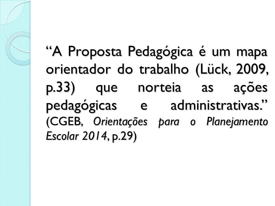 A Proposta Pedagógica é um mapa orientador do trabalho (Lück, 2009, p