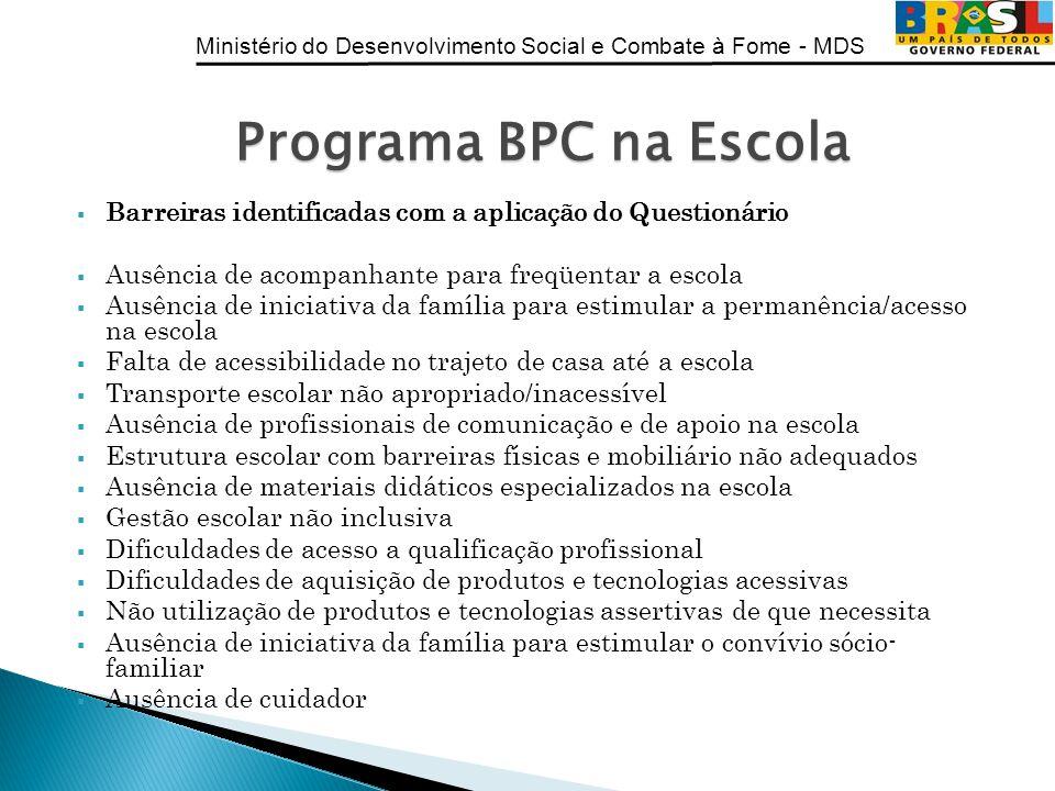Programa BPC na Escola Barreiras identificadas com a aplicação do Questionário. Ausência de acompanhante para freqüentar a escola.