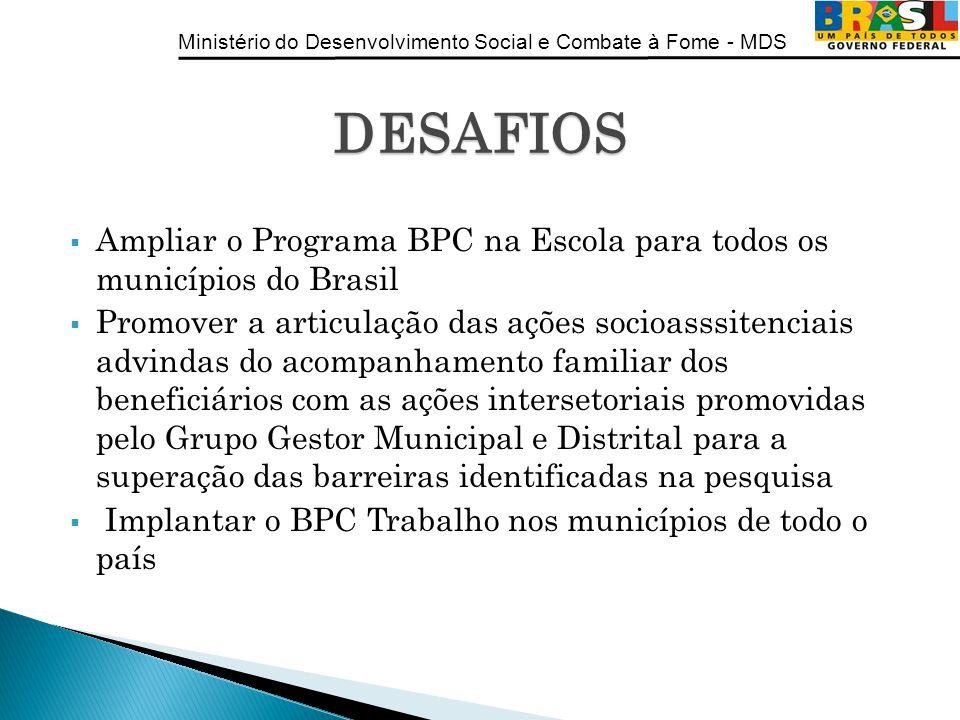 DESAFIOS Ampliar o Programa BPC na Escola para todos os municípios do Brasil.