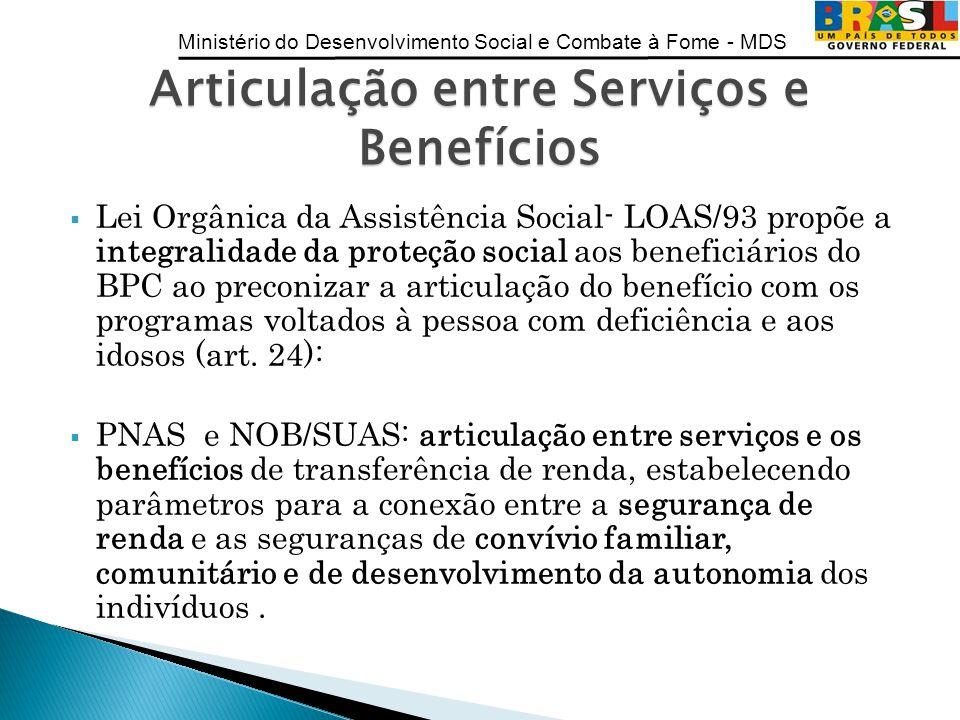 Articulação entre Serviços e Benefícios