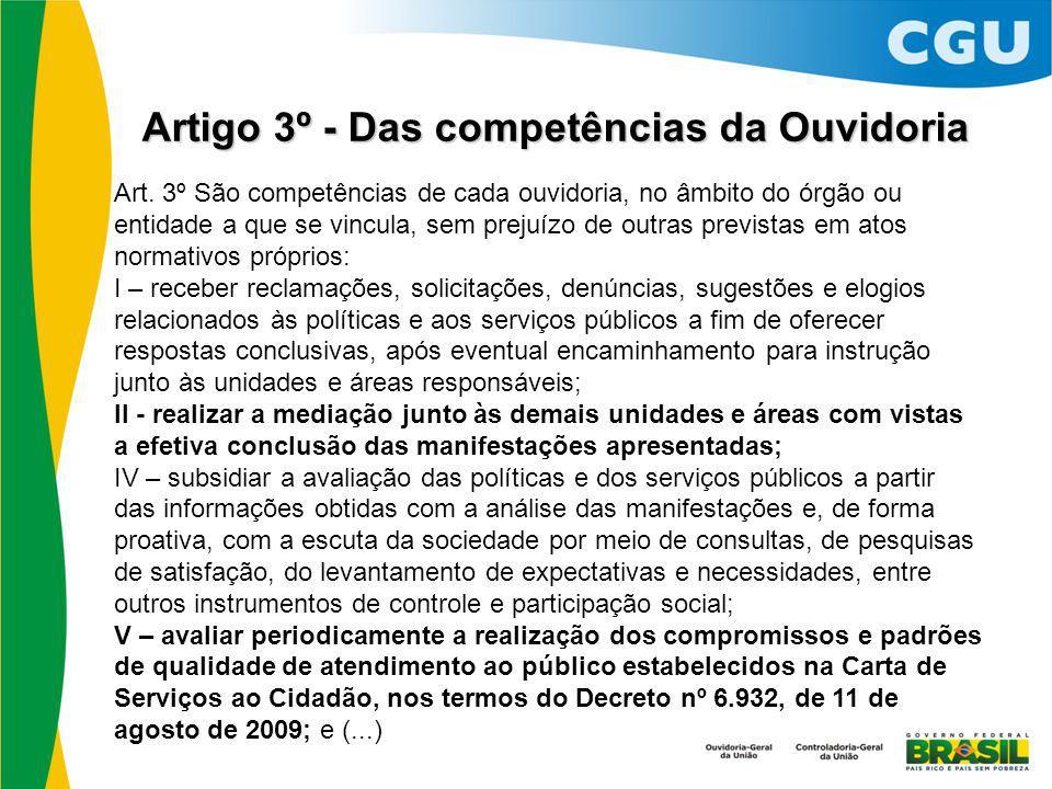 Artigo 3º - Das competências da Ouvidoria