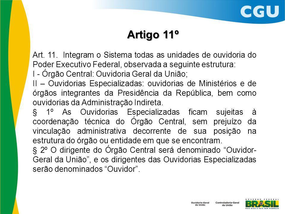Artigo 11º Art. 11. Integram o Sistema todas as unidades de ouvidoria do Poder Executivo Federal, observada a seguinte estrutura: