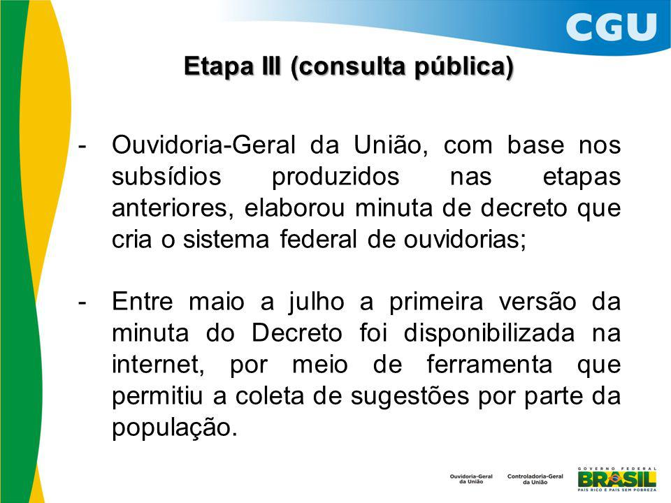 Etapa III (consulta pública)