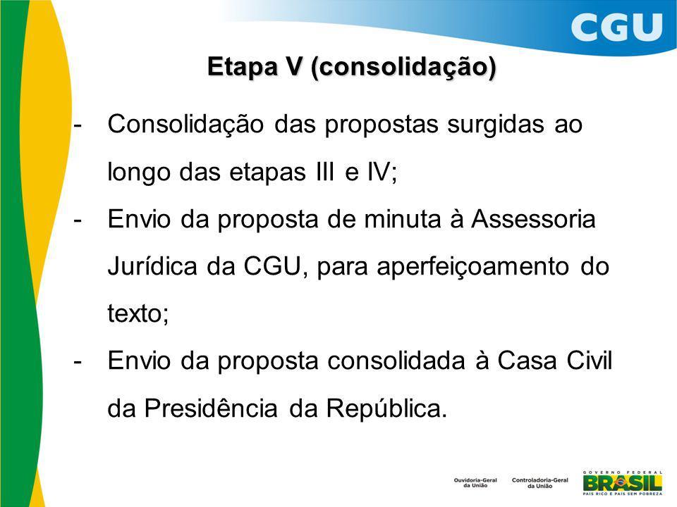 Etapa V (consolidação)