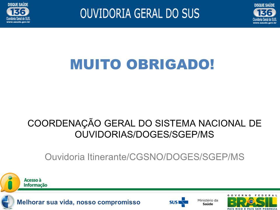 MUITO OBRIGADO. COORDENAÇÃO GERAL DO SISTEMA NACIONAL DE OUVIDORIAS/DOGES/SGEP/MS.