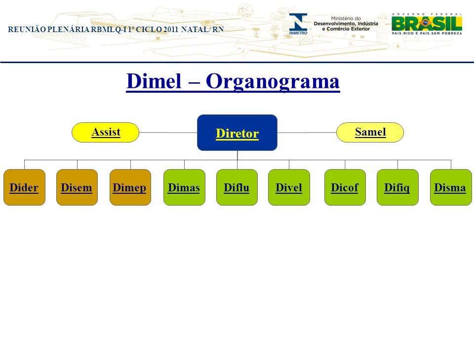 Dimel – Organograma Diretor Assist Samel Dider Disem Dimep Dimas Diflu