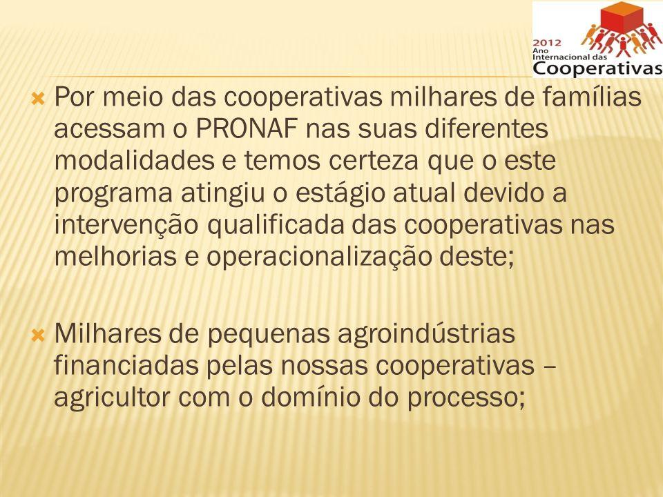 Por meio das cooperativas milhares de famílias acessam o PRONAF nas suas diferentes modalidades e temos certeza que o este programa atingiu o estágio atual devido a intervenção qualificada das cooperativas nas melhorias e operacionalização deste;