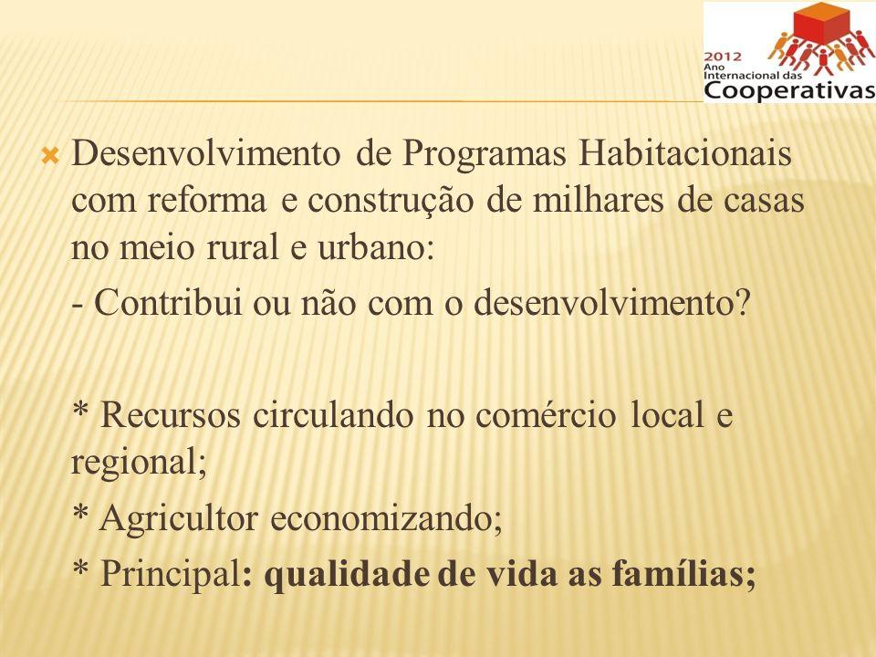 Desenvolvimento de Programas Habitacionais com reforma e construção de milhares de casas no meio rural e urbano:
