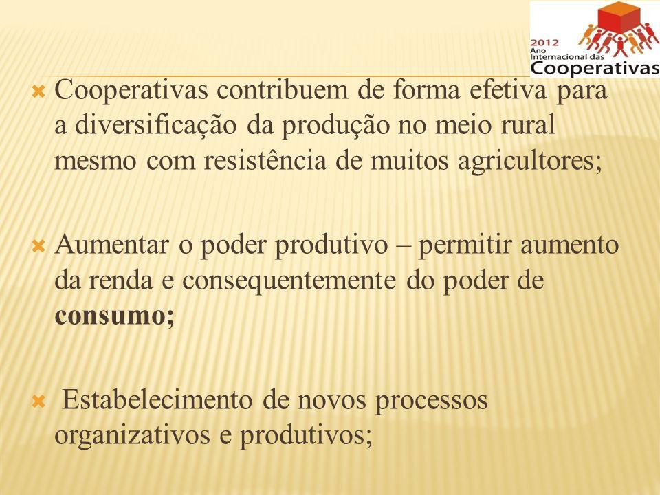 Cooperativas contribuem de forma efetiva para a diversificação da produção no meio rural mesmo com resistência de muitos agricultores;