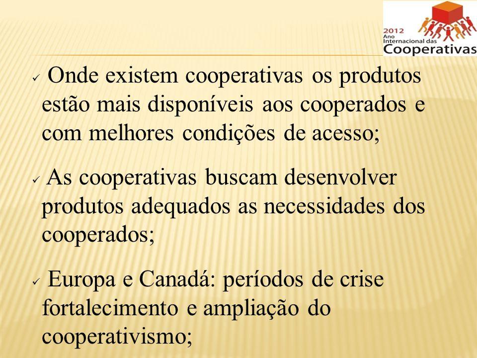 Onde existem cooperativas os produtos estão mais disponíveis aos cooperados e com melhores condições de acesso;