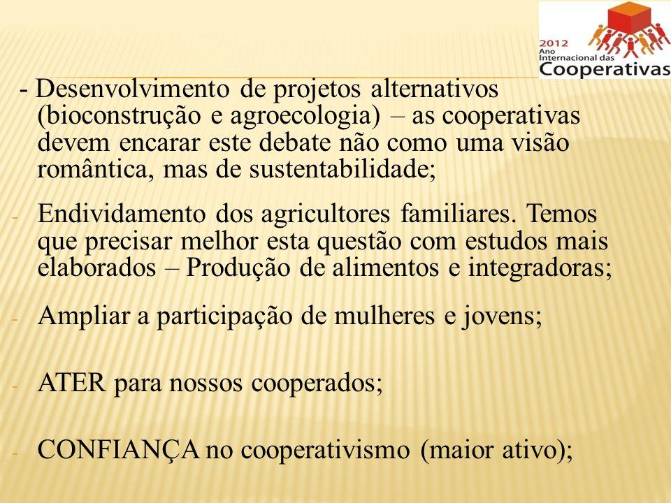 - Desenvolvimento de projetos alternativos (bioconstrução e agroecologia) – as cooperativas devem encarar este debate não como uma visão romântica, mas de sustentabilidade;