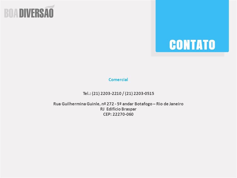 Comercial Tel.: (21) 2203-2210 / (21) 2203-0515. Rua Guilhermina Guinle, nº 272 - 5º andar Botafogo – Rio de Janeiro RJ Edifício Braspar.