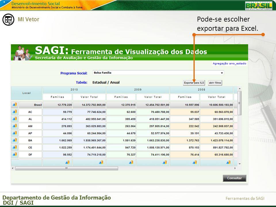 Pode-se escolher exportar para Excel.