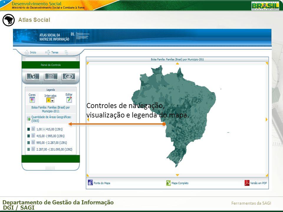 Controles de navegação, visualização e legenda do mapa.