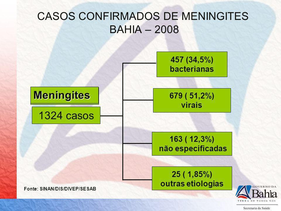 CASOS CONFIRMADOS DE MENINGITES BAHIA – 2008