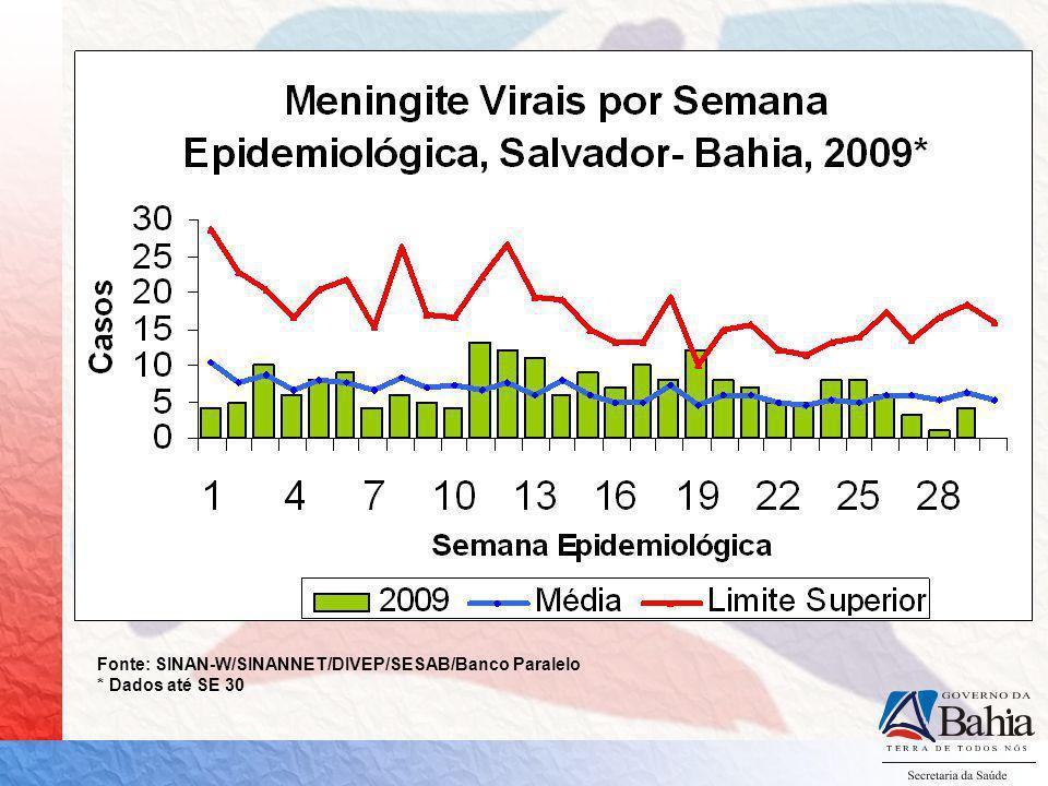 Fonte: SINAN-W/SINANNET/DIVEP/SESAB/Banco Paralelo