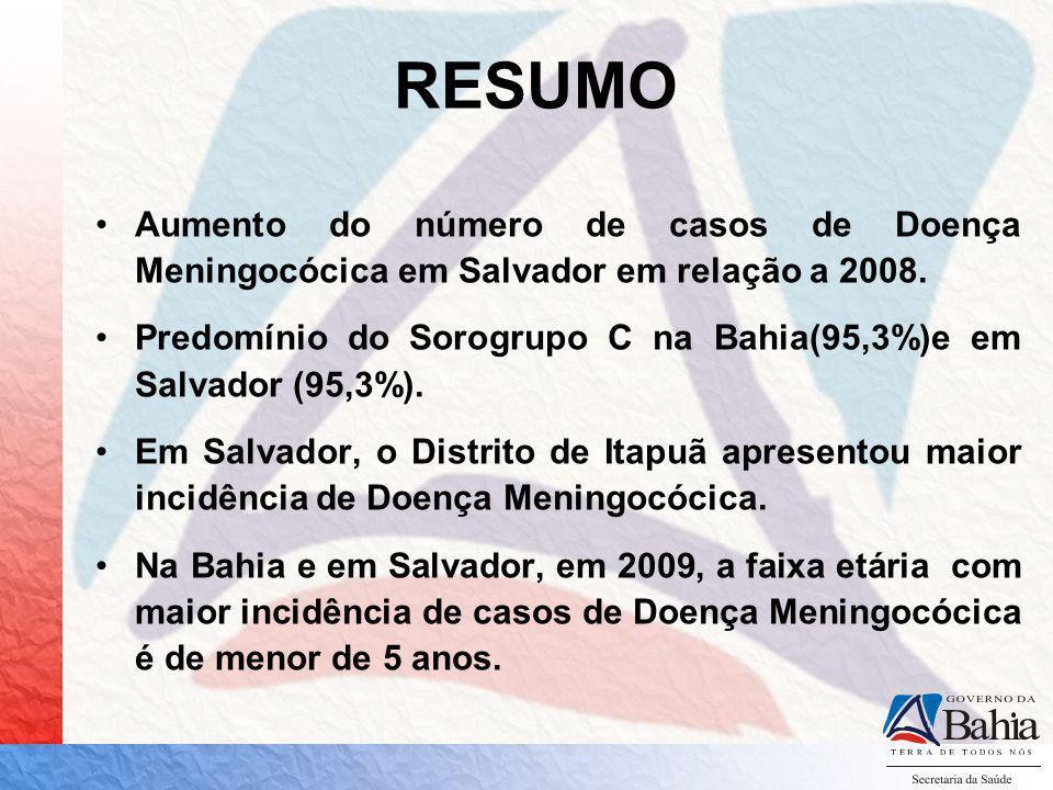RESUMO Aumento do número de casos de Doença Meningocócica em Salvador em relação a 2008.