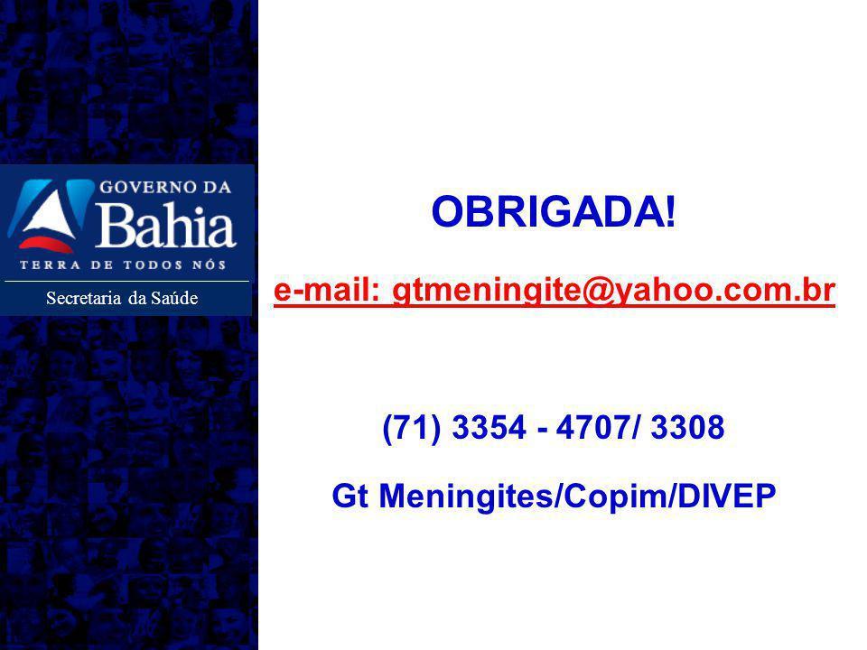 e-mail: gtmeningite@yahoo.com.br Gt Meningites/Copim/DIVEP