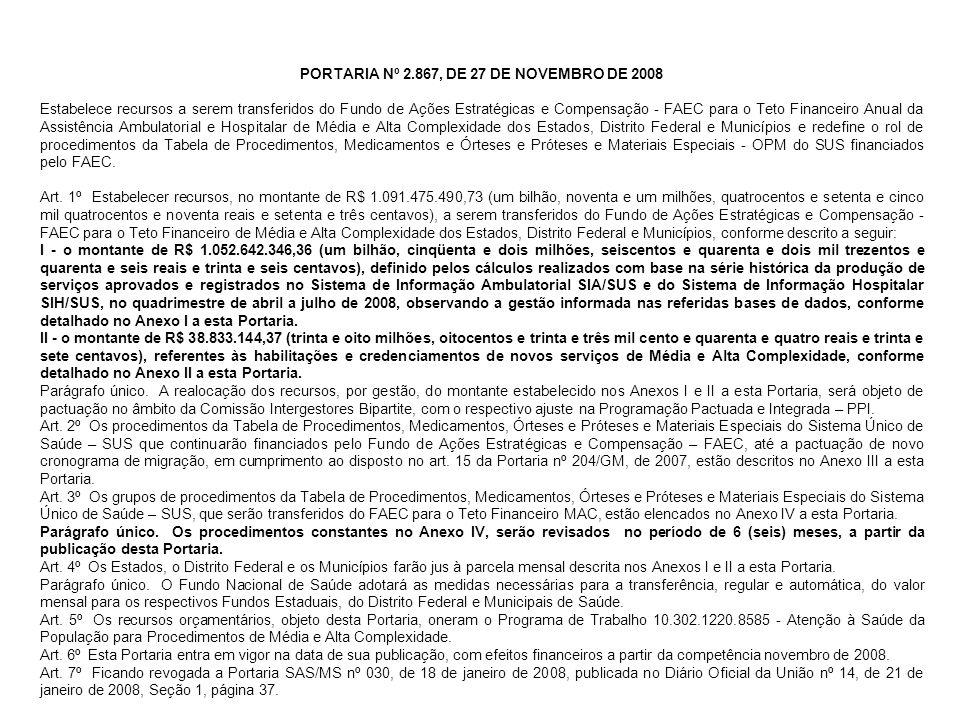 PORTARIA Nº 2.867, DE 27 DE NOVEMBRO DE 2008