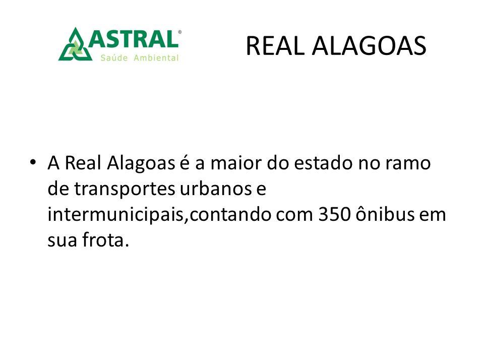 REAL ALAGOAS A Real Alagoas é a maior do estado no ramo de transportes urbanos e intermunicipais,contando com 350 ônibus em sua frota.