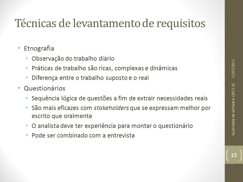 Técnicas de levantamento de requisitos