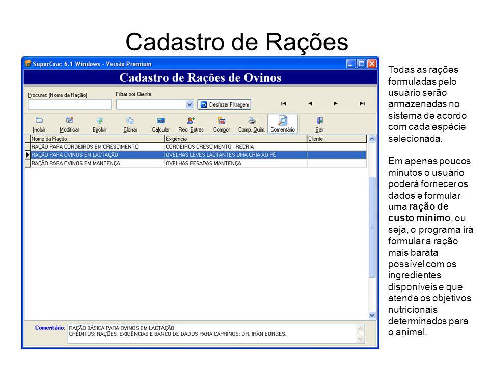 Cadastro de Rações Todas as rações formuladas pelo usuário serão armazenadas no sistema de acordo com cada espécie selecionada.
