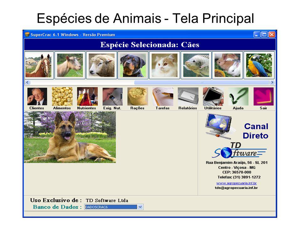 Espécies de Animais - Tela Principal