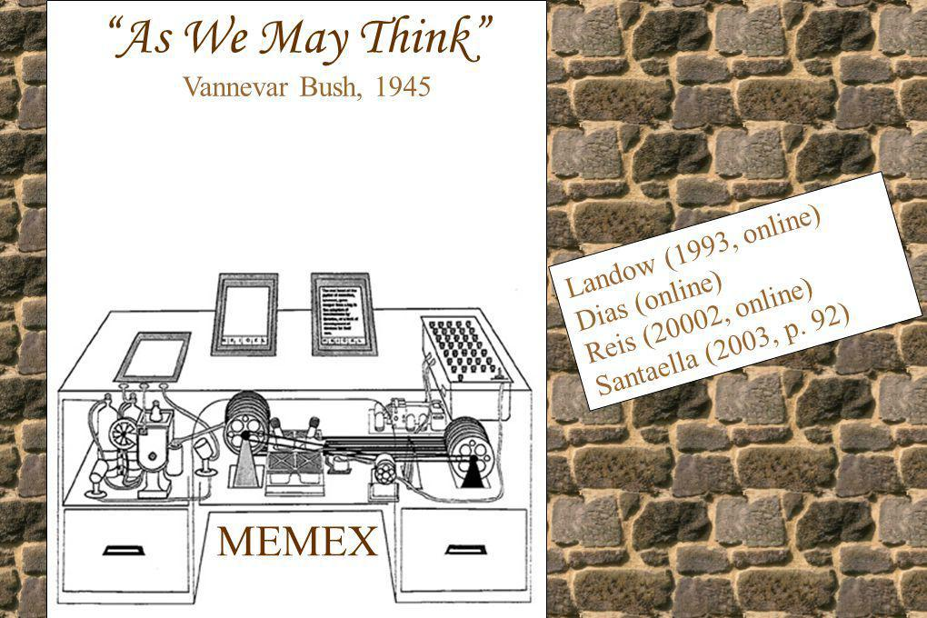 As We May Think MEMEX Vannevar Bush, 1945 Landow (1993, online)