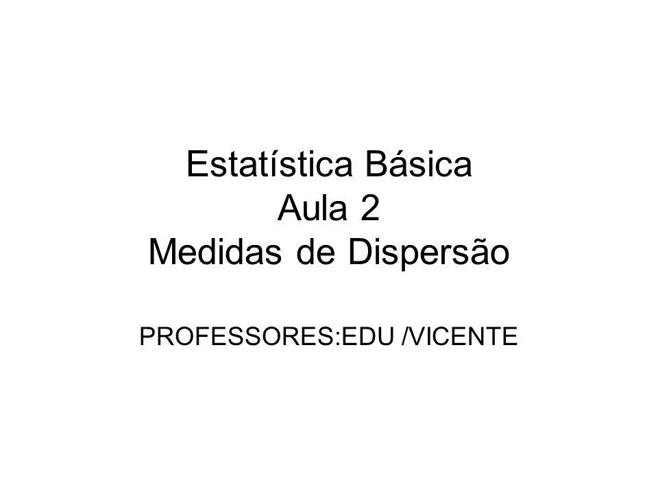 Estatística Básica Aula 2 Medidas de Dispersão