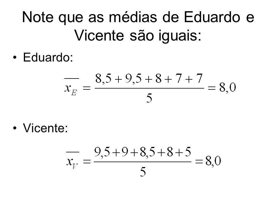 Note que as médias de Eduardo e Vicente são iguais: