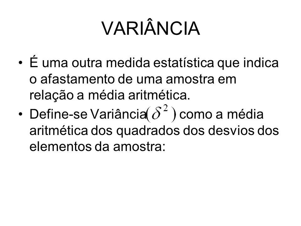 VARIÂNCIA É uma outra medida estatística que indica o afastamento de uma amostra em relação a média aritmética.