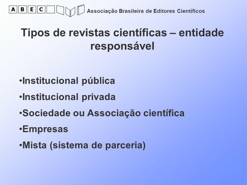 Tipos de revistas científicas – entidade responsável