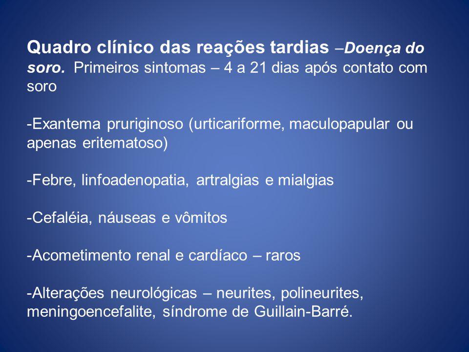 Quadro clínico das reações tardias –Doença do soro