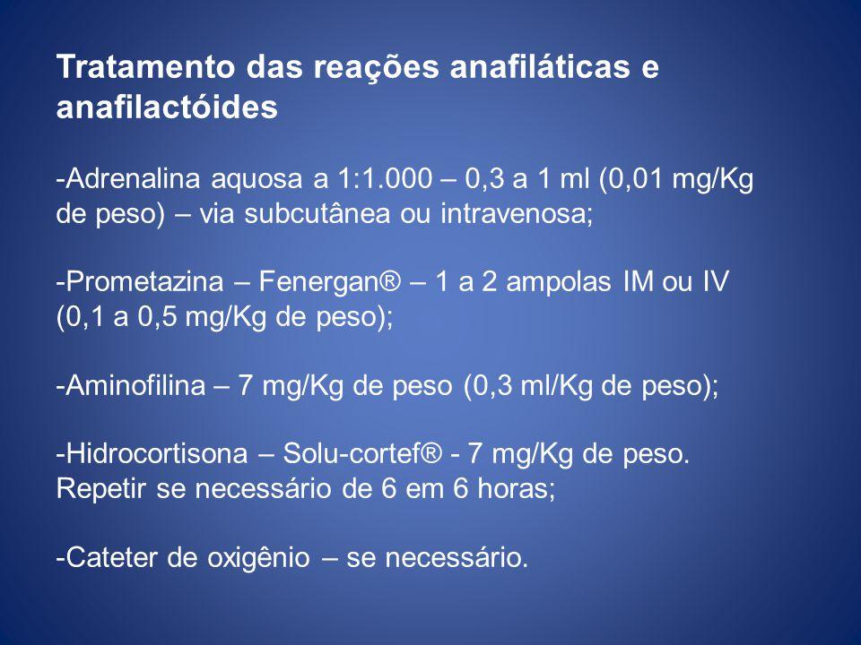 Tratamento das reações anafiláticas e anafilactóides -Adrenalina aquosa a 1:1.000 – 0,3 a 1 ml (0,01 mg/Kg de peso) – via subcutânea ou intravenosa; -Prometazina – Fenergan® – 1 a 2 ampolas IM ou IV (0,1 a 0,5 mg/Kg de peso); -Aminofilina – 7 mg/Kg de peso (0,3 ml/Kg de peso); -Hidrocortisona – Solu-cortef® - 7 mg/Kg de peso.